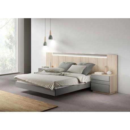 Lit design moderne bois et gris 160x200 cm