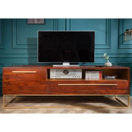 Meuble tv bois d'acacia marron et métal doré 165 cm