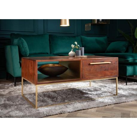 Table basse rectangulaire bois d'acacia marron et pied métal doré