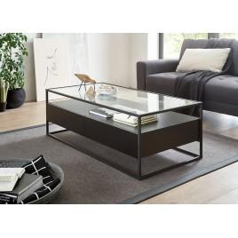 Table basse noir rectangulaire avec plateau en verre