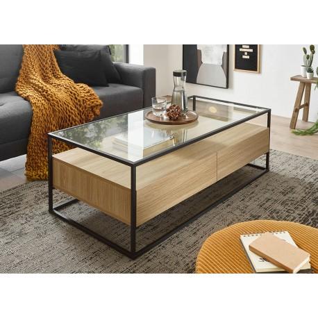 Table basse chêne clair rectangulaire avec plateau en verre