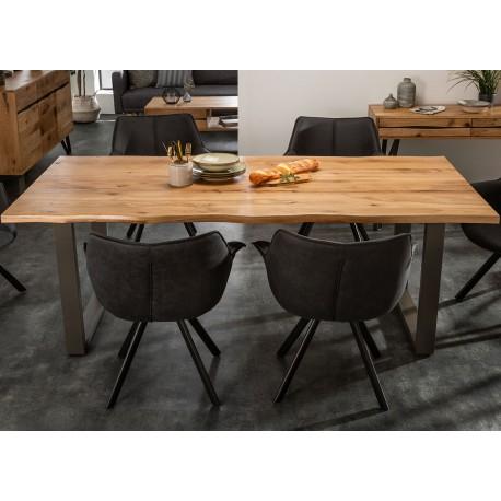 Table de salle à manger bois et massif et métal 160 cm