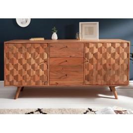 Buffet en bois massif d'acacia à motifs mosaïque 2 portes et 4 tiroirs