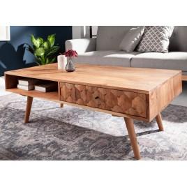 Table basse rectangulaire effet mosaïque en bois d'acacia