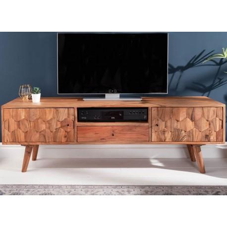 Meuble tv en bois massif d'acacia à motifs mosaïque 140 cm