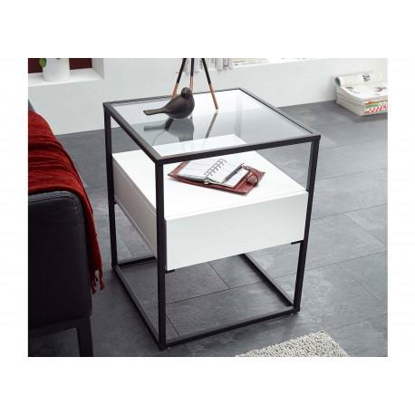 Bout de canapé avec tiroir blanc mat et pied noir métal