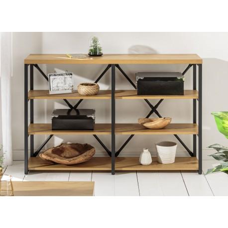 Meuble bibliothèque industrielle 110 cm chêne naturel et cadre métal noir