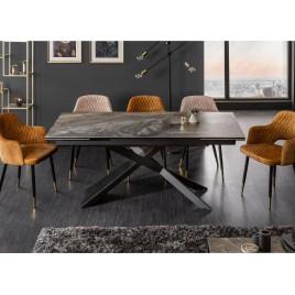 Table à manger extensible 180-220-260 cm céramique taupe aspect marbre