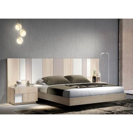 Lit adulte moderne 160x200 cm avec tête de lit multicolore