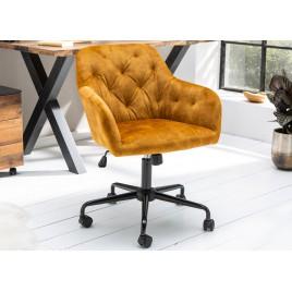 Chaise de bureau design velours jaune moutarde