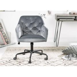 Chaise de bureau velours gris