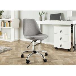 Chaise de bureau tulipe tissu gris sur roulettes