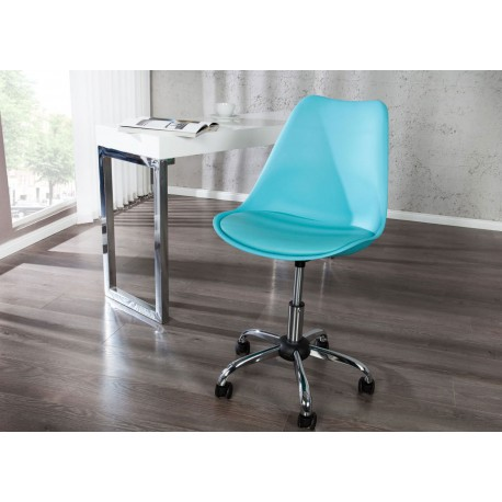 Chaise de bureau réglable en hauteur bleu turquoise