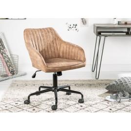 Chaise de bureau taupe pivotante avec accoudoirs