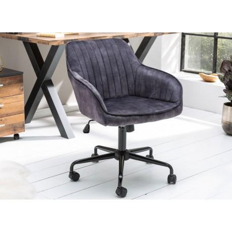 Chaise de bureau velours gris foncé pivotante avec accoudoirs