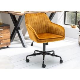 Chaise de bureau velours jaune or pivotante avec accoudoirs