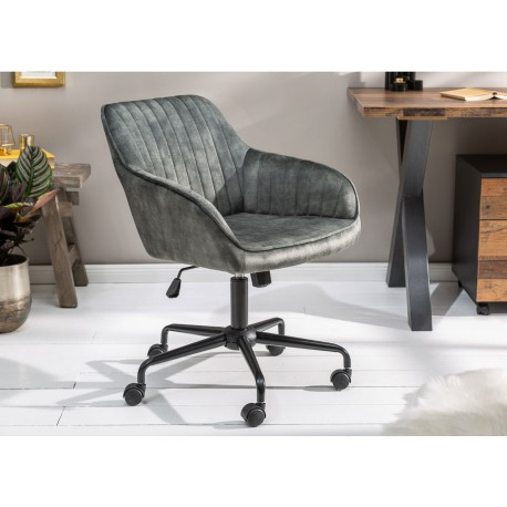 Chaise de bureau velours vert foncé pivotante avec accoudoirs