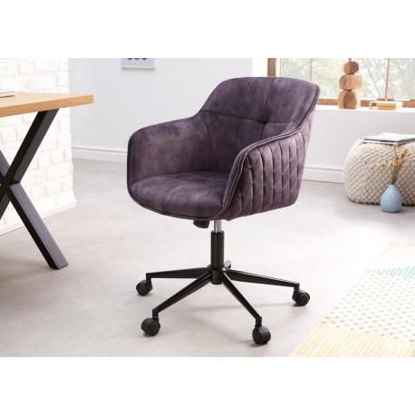 Chaise de bureau réglable en hauteur en velours gris foncé
