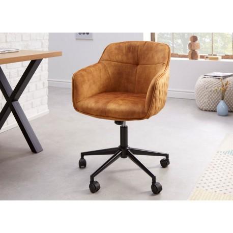 Chaise de bureau réglable en hauteur en velours jaune moutarde