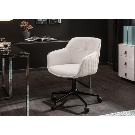 Chaise de bureau réglable en hauteur en simili cuir blanc