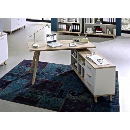 Meuble bureau avec rangement blanc et bois