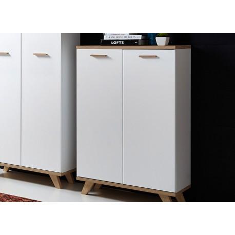Armoire de rangement 2 portes blanc et bois