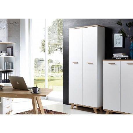 Grande armoire de rangement 2 portes blanc et bois