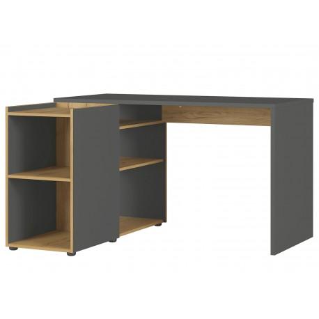 Bureau d'angle rectangulaire gris et bois