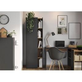 Meuble de rangement gris et décor bois