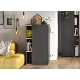 Meuble rangement bureau gris et décor bois
