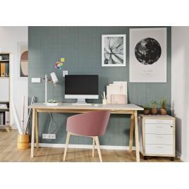 Table de travail blanche et bois design scandinave