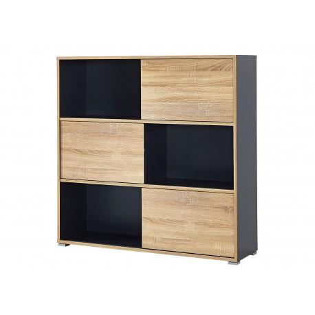 Etagère de rangement à portes coulissantes gris et bois