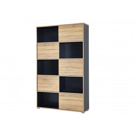 Grande étagère de rangement à portes coulissantes gris et bois