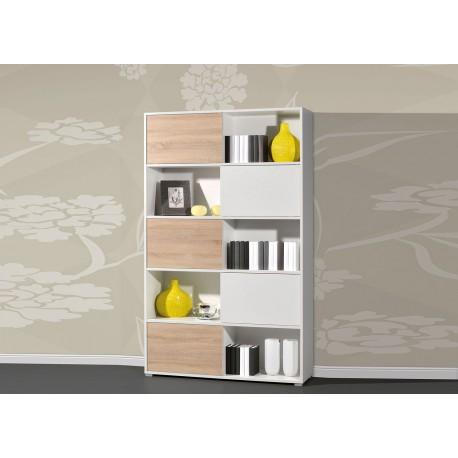 Grande étagère de rangement à portes coulissantes blanche et bois