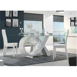 Table de repas design verre et pied laqué blanc