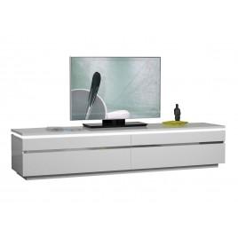 Meuble tv design blanc laqué 2 portes