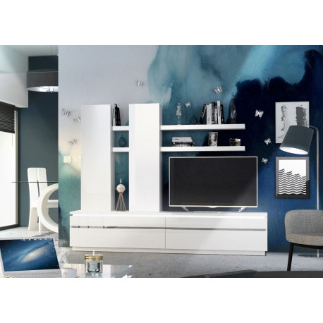 Meuble tv mural laqué blanc brillant lumineux
