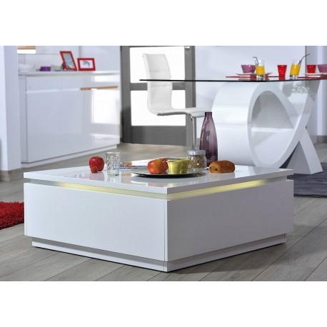 Table basse carrée blanc laqué avec éclairage