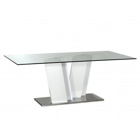 Table de salle à manger en verre et piétement blanc laqué