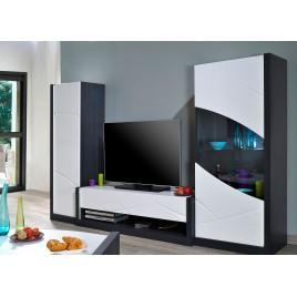 Meuble tv design blanc laqué et gris à led