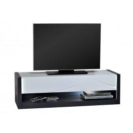 Meuble tv design blanc laqué et gris à led 150 cm