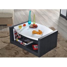 Table basse moderne blanc laqué et gris foncé 90 cm