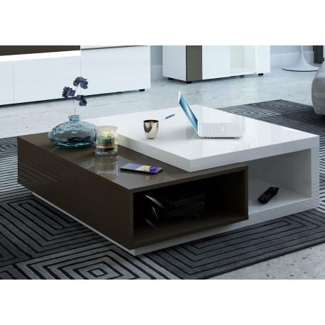 Table basse carrée blanc et gris laqué avec rangement