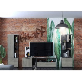 Meuble tv mural bois et métal noir industriel