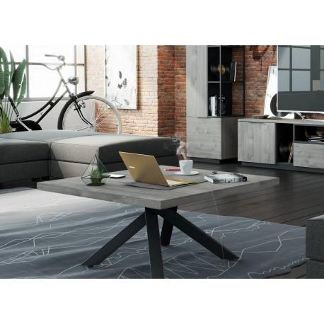 Table basse carrée bois et métal noir industriel