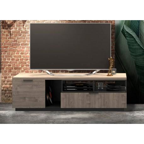 Meuble télé bois et métal noir 1m80