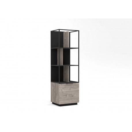 Meuble bibliothèque 1 porte bois et métal noir industriel