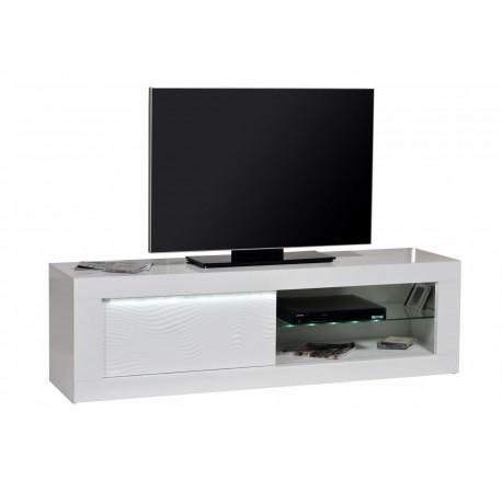 Meuble tv design blanc laqué à led