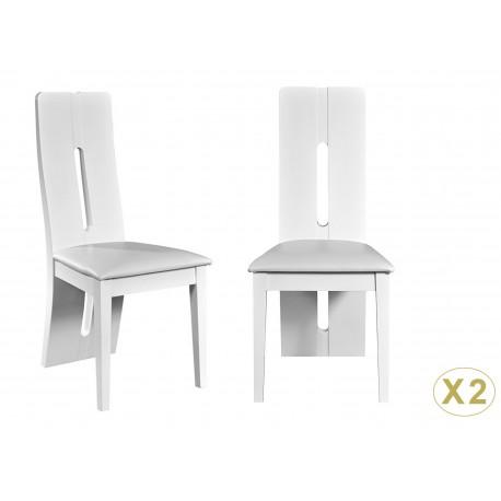 Chaises de repas design blanc laqué