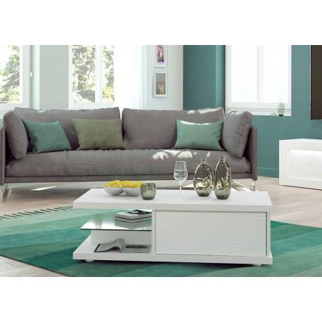 Table basse rectangulaire rangement laqué blanc